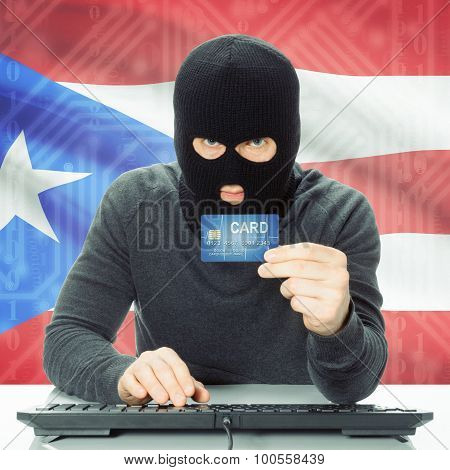 Concept Of Cybercrime With National Flag On Background - Puerto Rico