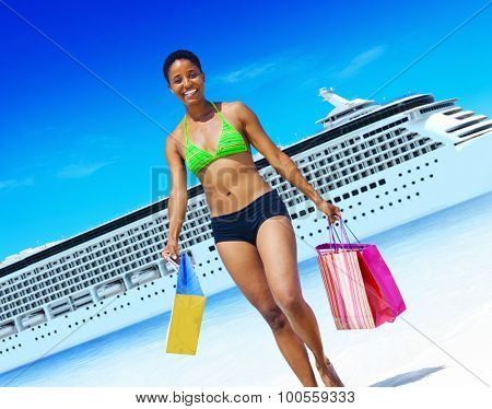 Woman Bikini Shopping Bags Beach Summer Concept