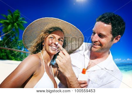 Couple Sun Protection on the Beach Romantic Concept
