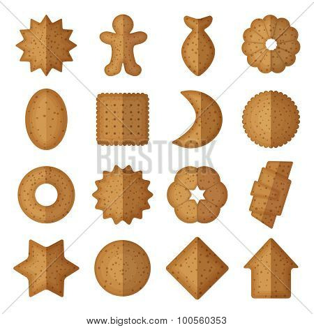 Vector cookies of different shapes. Star and gingerbread man, fish flower