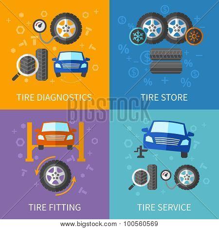 Tire service flat concepts vector set