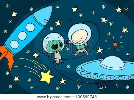 Child's drawing of an alien and astronaut greeting each other