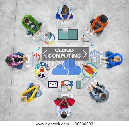 People Computer Technology Global Communications Cloud Computing Concept