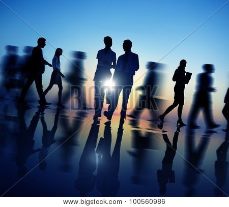 Business People Walking Silhouette Concept