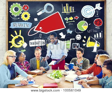 Diversity Casual People Branding Product Team Studying Concept