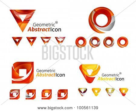 Universal abstract geometric shapes - business emblems. Created with wavy overlapping elements, clean flowing modern design