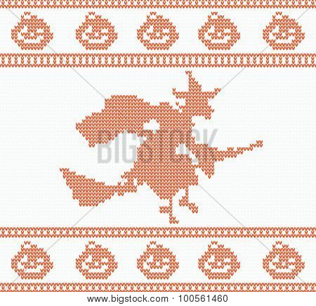Seamless Knitted Halloween Pattern with Witch in red color. Vector illustration