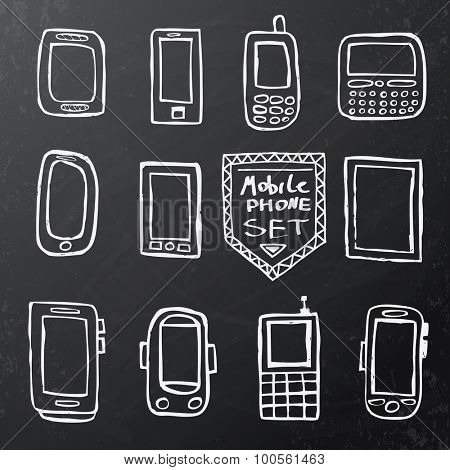 Hand drawn set of isolated mobile gadgets on black chalk board. Vector illustration