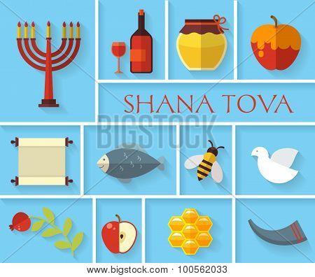 Happy Jewish new year Shana Tova icons