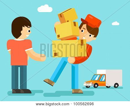 Delivery man with boxes and car gives package to client