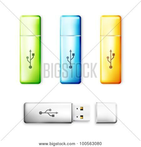 USB flash drive over white background