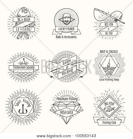 Retro fishing logo or labels set
