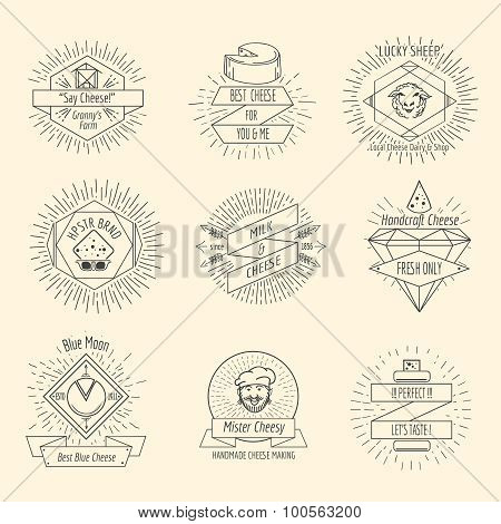 Handmade cheese logo or hipster craft cheesemaking emblem vintage vector set