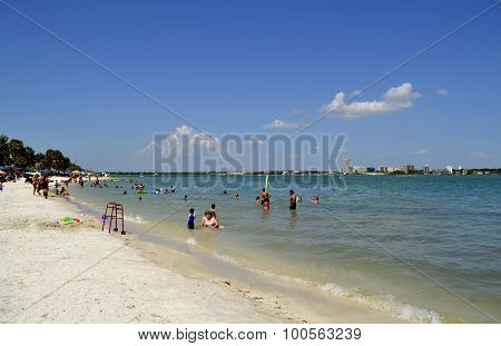 Sand Key in Florida USA May 10 2015 tourists in the sea enjoying the sun