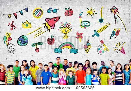 Kids Childhood Leisure Activity Education Concept