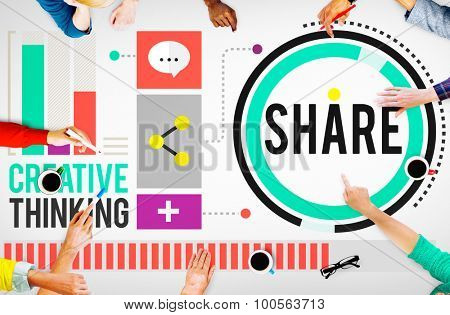 Share Creative Thinking Exchange Technology Concept