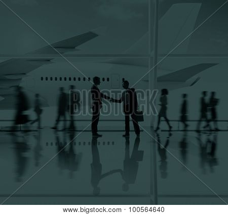 Businessmen Airport Handshake Deal Business Concept