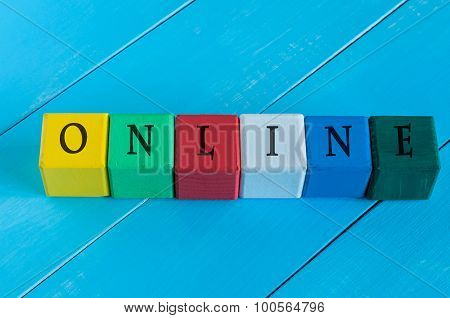 Word Online on children's colourful cubes or blocks. online shopping concept background