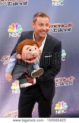 NEW YORK-AUG 11: Ventriloquist Paul Zerdin attends the 'America's Got Talent' season 10 taping at Radio City Music Hall on August 11, 2015 in New York City..