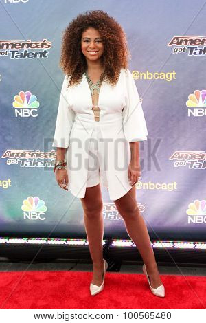 NEW YORK-AUG 11: Singer Samantha Johnson attends the 'America's Got Talent' season 10 taping at Radio City Music Hall on August 11, 2015 in New York City.