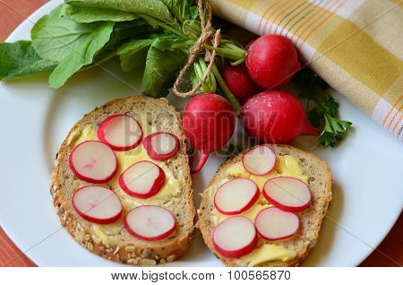 Slices of radish on cereal bread and bunch of radishes.