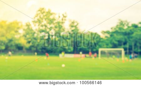 Abstract blur Soccer game ( Filtered image processed vintage effect. )