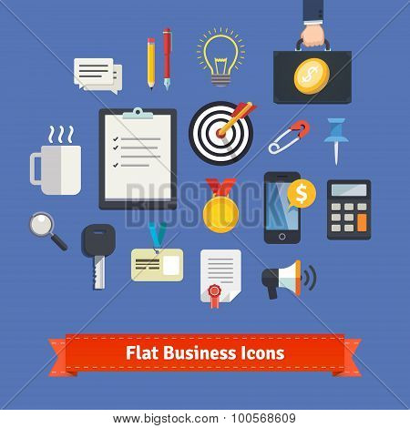 Flat style business icons set