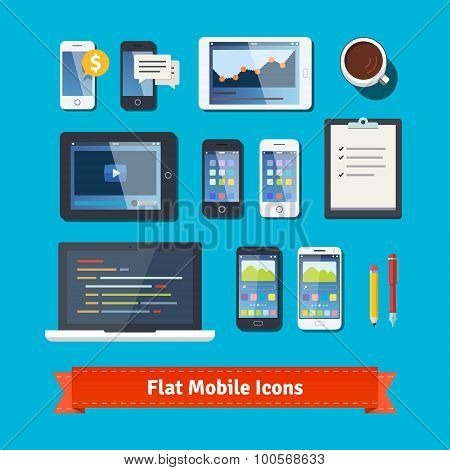 Mobile development flat icons set. Laptop, tablet