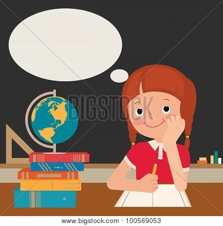 Schoolgirl Sits At A School Desk