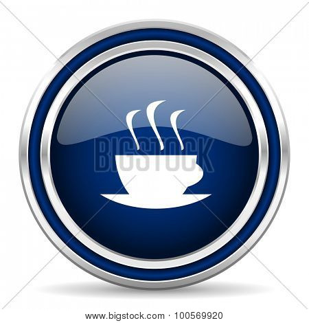 espresso blue glossy web icon modern computer design with double metallic silver border on white background with shadow for web and mobile app round internet button for business usage