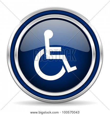 wheelchair blue glossy web icon modern computer design with double metallic silver border on white background with shadow for web and mobile app round internet button for business usage