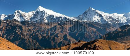 View Of Putha Churen Himal And Dhaulagiri Himal