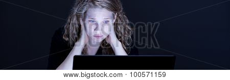 Girl Looking At Computer's Screen