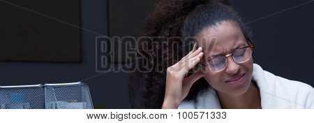 Female With Strong Headache