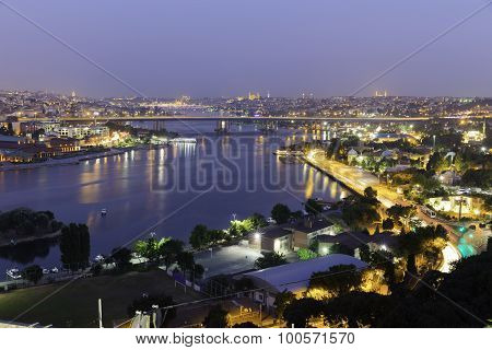 Golden Horn At Night Halic In Turkish Aerial Twilight View