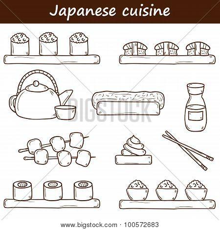 Set of cute cartoon hand drawn icons on japanese cuisine theme: tea pot, rolls, sushi, wasabi, cavia