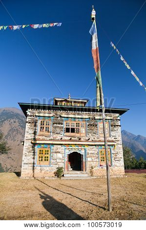Buddhist Monastery Or Gompa In Kharikhola Village