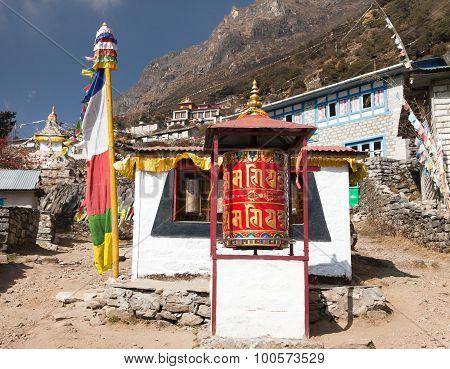 Thamo Gompa With Prayer Flags And Buddhist Symbols