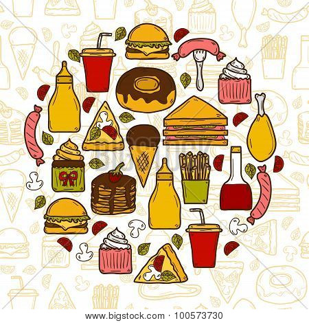 Vector illustration with objects on american food theme in circle shape and seamless background: fri