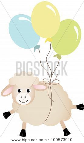 Sheep flying with balloons