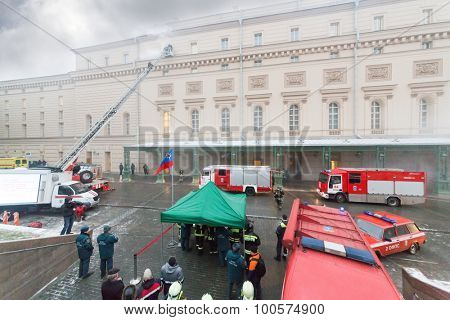 MOSCOW - December 8, 2014: Firemen fight fire in State Academic Bolshoi Theatre of Russia Historical scene