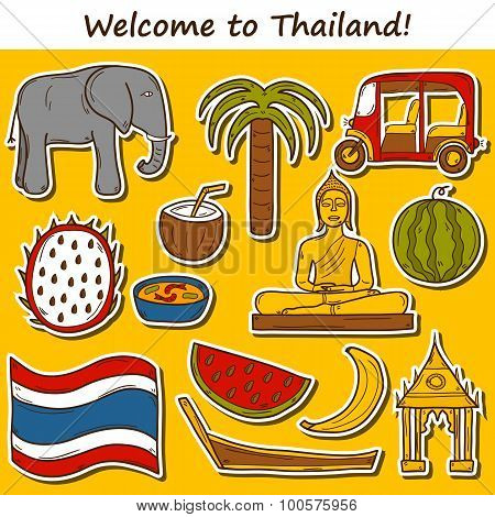 Set of cartoon stickers in hand drawn style on Thailand theme: taxi, buddha, flag, fruits, elephant,