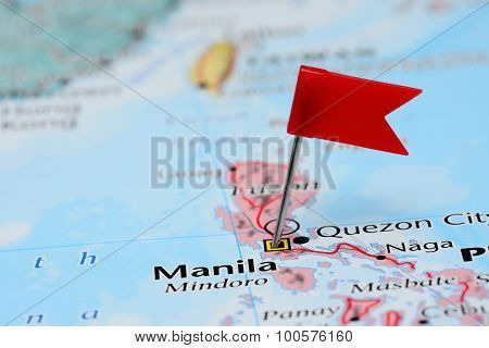 Manila pinned on a map of Asia