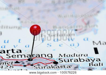 Semarang pinned on a map of Asia
