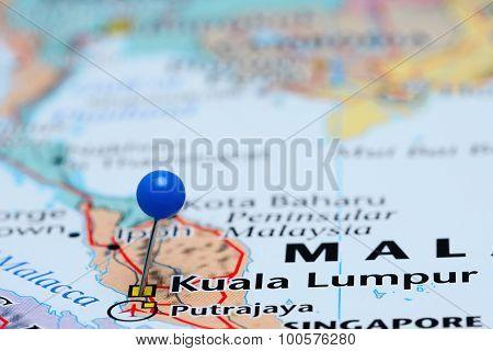 Kuala Lumpur pinned on a map of Asia