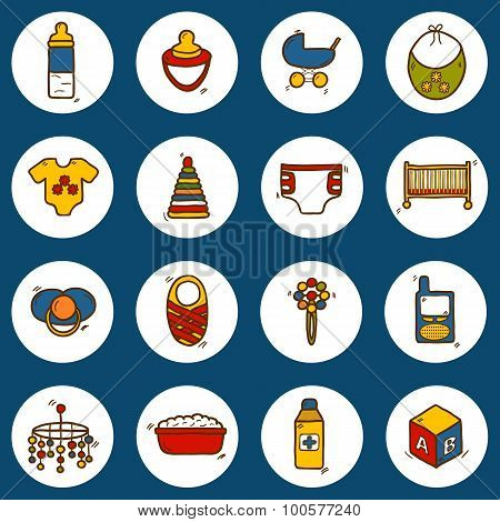 Set of hand drawn icons on baby care theme: nipple, rattle, block, carriage, bed, diaper