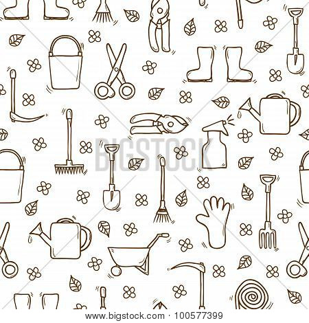 Seamless backgound with cartoon hand drawn objects on garden theme. Outdoor concept with tools objec