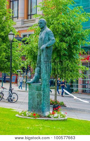 OSLO, NORWAY - 8 JULY, 2015: Statue Carl Joachim Hambro, politician, located at Storting Karl Johans