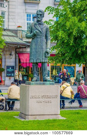 OSLO, NORWAY - 8 JULY, 2015: Statue of first Norwegian parliamentary prime minister Johan Sverdrup,