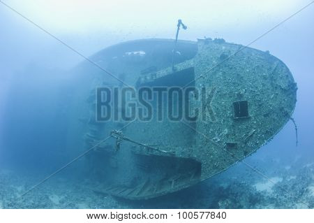 Bow Of A Large Underwater Shipwreck